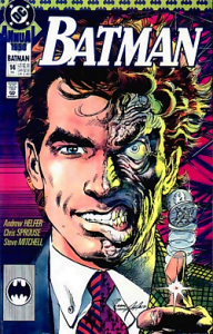 Harvey Dent as he appears in the comics, as Two-Face