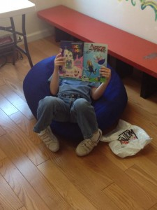The shop is a comfortable reading space for customers of all ages.