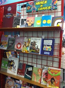 "The shop's ""Women in Comics"" display."