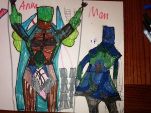 Warrior Women, by Anna. Note those aren't square heads; the outfits have high necks, says Anna, for protection