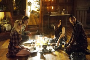"THE MAGICIANS -- ""Unauthorized Magic"" Episode 101 -- Pictured: (l-r) Olivia Taylor Dudley as Alice, Jason Ralph as Quentin, Jade Tailor as Kady, Arjun Gupta as Penny -- (Photo by: Carole Segal/Syfy)"