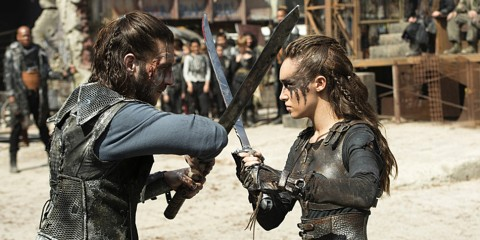"The 100 -- ""Watch The Thrones"" -- Image HU304a_0123 -- Pictured (L-R): Zachary McGowan as Roan and Alycia Debnam-Carey as Lexa -- Credit: Cate Cameron/The CW -- © 2016 The CW Network, LLC. All Rights Reserved"