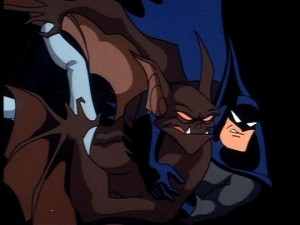 Batman faces Man-Bat in the final set piece of On Leather Wings