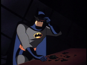 Batman using his 'Detective Mode' styled visor