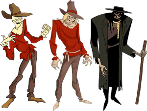 The three Scarecrow designs used throughout Batman: The Animated Series.