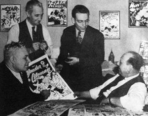Dr. Marston, H.G. Peter, editor Sheldon Mayer, All-American Comics publisher Max Gaines
